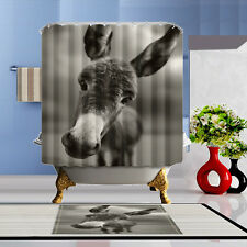 Lovely donkey Shower Curtain Polyester Waterproof Bathroom Bath Home Free Rings