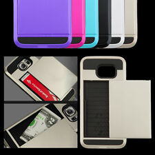 Hybrid Armour Hard Back Card Storage Slide Case Cover For Samsung S6 UK Stock LE