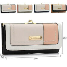New Trifold Faux Leather Patchwork Women Purse Designer Ladies Girl Wallet Notes