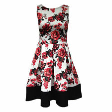New Womens Sleeveless Floral Print Contrast Panel Hem Skater Flare Ladies Dress