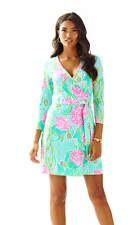 New Lilly Pulitzer MERIDAN PRINTED WRAP DRESS Poolside Blue Going Stag XS S L XL