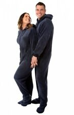 Navy Blue Plush Hooded Adult Footed Pajamas Footie Drop Seat Mens Womens PJs