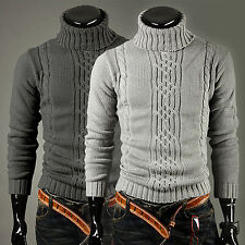 Mens Winter Turtleneck Ribbed Knitwear Pullover Warm Sweater Long Sleeve Top New