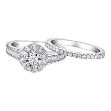 3pcs CZ 925 Sterling Silver White Gold Plated Wedding Engagement Ring Set Sz 6-9