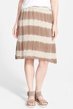 NWT Eileen Fisher Lantern Skirt Mocha Shibori Striped Silk $218 – XL DEFECT
