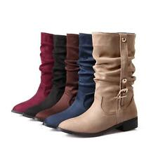 Women's Faux Suede Mid-Calf Pointed Toe Buckle Retro knight Boots 5 color