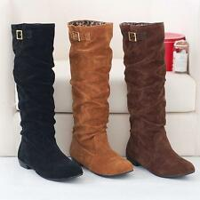 Chic Womens Slouch Pull On faux Suede Buckle Flat Knee High Boots Plus Size