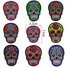 Punk Clothing Embroidered Fabric Iron/sew On Applique Flower Skull Head Patch