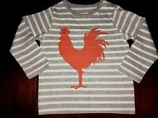 NWT 12-18M or 18-24M Mini Boden L/S Gray Striped Tee w/ Orange Rooster Graphic