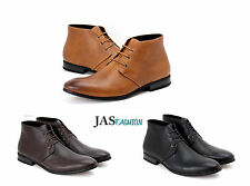 Mens Casual Ankle Boots Lace UP Formal Dress Shoes Faux Leather Retro Size UK
