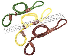COTTON ROPE SLIP DOG LEAD LEASH NATURAL RECYCLABLE BROWN BEIGE GREEN STRONG SOFT
