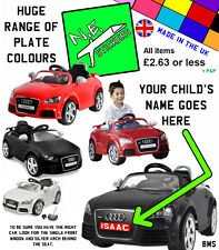 Personalised Number Plate: KID MOTORZ 6V Audi TT RS kids ride-on toy car FRONT