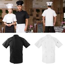Men Women Double Breasted Short Sleeve Chef Jacket Coat Cook Restaurant Uniforms