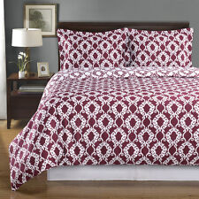 8PC Sierra Burgundy/White Bed in a Bag Set- Duvet Set-Sheets & White Comforter
