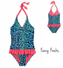 JUSTICE Girls Cheetah Ruffled Swimsuit, NWT, 6