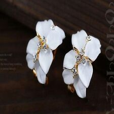 Flower Lovely Crystal Gardenia Flower Ear Stud Earrings With Buckle Ear Buckle