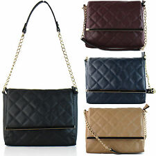 Ladies Quilted Designer Womens Strap Shoulder Bag Cross Body Handbag Satchel UK