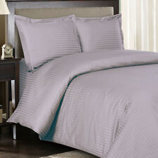 8PC Striped 300TC Lilac Bed in a Bag Set- Duvet Set-Sheets & White Comforter