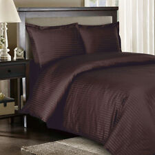 8PC Striped 300TC Chocolate Bed in a Bag Set- Duvet Set-Sheets & White Comforter