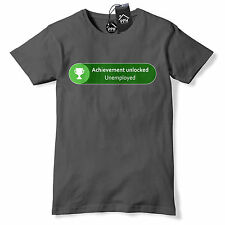 Achievement Unlocked Unemployed T Shirt Funny Geek Gamer Xbox Gift gaming 538