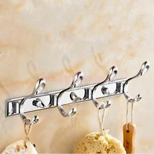 Kitchen Bathroom Wall Mounted 3/4/5/6 Hook Hanger Robe Towel Rack Metal Holder