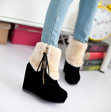 women's fur furry side zipper faux suede wedge high heel ankle boots#winter warm