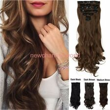 Premium Extra Thick Clip In On As Human Hair Extensions Full Head Double Weft US