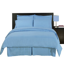 8PC Microfiber Blue Bed in a Bag Set- Duvet Set-Sheets & White Comforter