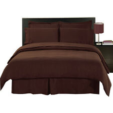 8PC Microfiber Solid Chocolate Bed in a Bag - Duvet Set-Sheets & White Comforter