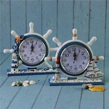 Decorative Wooden Nautical Anchor Ship Boat Steering Time Clock Table Shelf