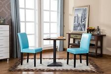 Parsons Chairs Dining Pair Set Leatherette Solid Wood Table High Back Blue Brown