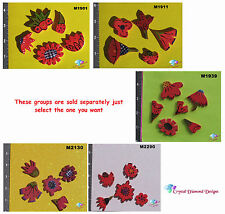 ASSORTED  FLOWERS -  HANDMADE CERAMIC MOSAIC TILES ( Pick you Group) #16