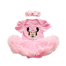 Newborn Infant Baby Girl Minnie Mouse Romper Tutu Dress+Headband Party Outfits
