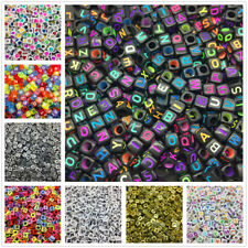 NEW 100/500/1000pcs Mixed Alphabet/Letter Acrylic Cube Beads 6x6mm 7X7mm Choose