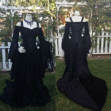 Plus Size 2-26W Gothic Lace Wedding Dress Formal Long Sleeve Lace Up Bridal Gown
