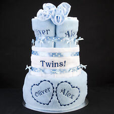 TWINS 3 tier heart nappy cake personalised names blankets bibs newborn baby gift
