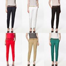 Fashion Womens Pencil Pants OL Ladies Casual Candy Color Skinny Belted Trousers