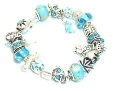 Nautical Beach Ocean European Charm Bracelet 5 Designs Murano Glass Beads Gift