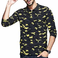 Handsome Casual Mens Polo Shirt Camouflage Long Sleeve Slim Lapel Print T-Shirt