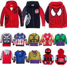Kids Boys Superhero Hoodies Sweatshirt Coats Zipper Hoody Tops Cosplay Costume