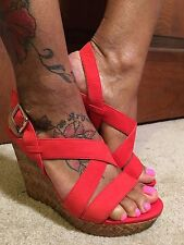 NWT-JESSICA SIMPSON JERRIMO RED LEATHER STRAPPY WEDGE SANDALS (Sz 9.5)