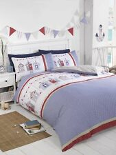 Rapport Red/White/Blue Beach Huts And Bunting Design Seaside Duvet Set S/D/K