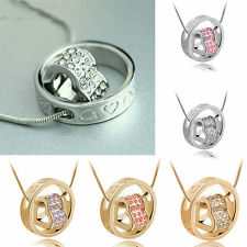 Women Crystal Rhinestone Necklace Pendant Heart Ring Gift Fashion Necklace Chain