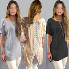 Womens Summer Casual Tops Short Sleeve T-Shirt Loose Dress Lace Blouse Pretty