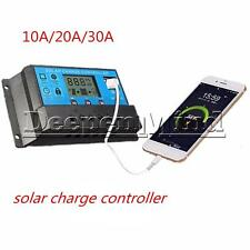 10/20/30A PWM Solar Panel Controller Battery Charge Regulator 12V/24V Auto USB