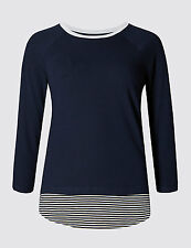 Ex Marks & Spencer Womens Navy Blue Mock Layer Tunic Top 10 12 14 16 18 20 22