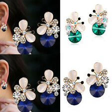 1 pair Women Jewelry Elegant Butterfly Rhinestone Asymmetric Stud Earrings
