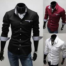 New Stylish Men's Long Sleeve Slim Fit Tops Casual Dress Business Formal Shirts
