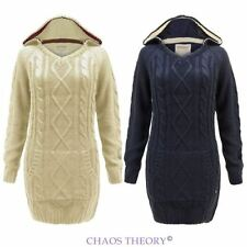 Womens Ladies Hooded Cable Knitted Chunky Jumper Long Pullover Sweater Top