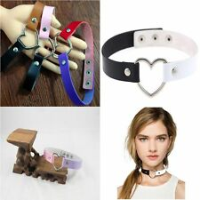 Handmade Chain Ring Funky Punk Goth Leather Heart Collar Choker Necklace